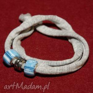 bransoletka z niebieskimi koralikami modułowymi, modułowe, bawełniana, szara