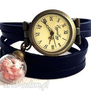 handmade zegarki subtelny róż - zegarek/bransoletka na skórzanym pasku