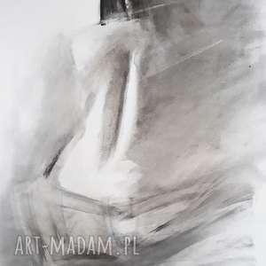 nude 50x70, obraz do sypialni, grafika kobieta, rysunek czarno biała