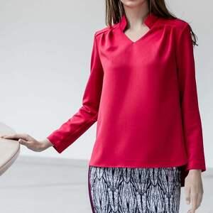 bluzki bluzka reno, czerwona, bluzka, stójka, dekolt, zakładki, plisy