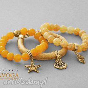 ręcznie robione bransoletki amber jade, agate & golden strap set