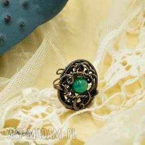 Green agate - pierścionek z agatem, pierścionek, miedź, retro, agat