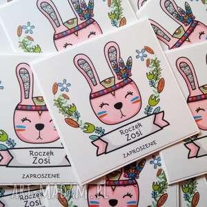 Zaproszenia na roczek i urodziny - 10 sztuk, królik, różowy, zaproszenie, dziewczynka