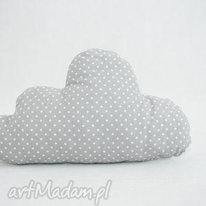 mała poduszka chmurka szara w kropeczki - groszki, kropki, kropeczki
