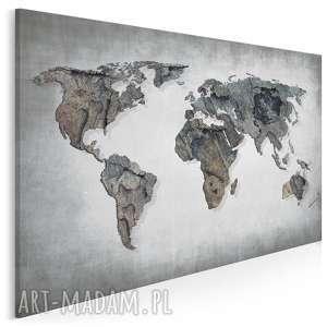 obraz na płótnie - mapa świata beton 120x80 cm 63701, mapa, świat