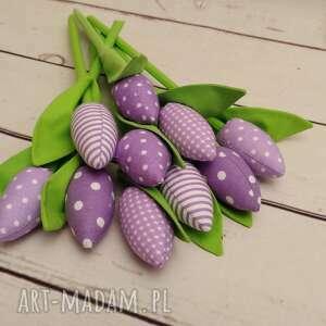 tulipany - bukiet bawełnianych tulipanów 10 szt, dekoracje, prezent, wielkanoc