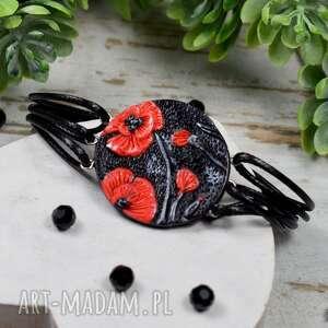 sznurkowa bransoletka czerwone maki, kwiaty