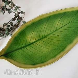 liść ceramiczny - talerz ozdobny, ceramika, talerz, plate, patera, liść
