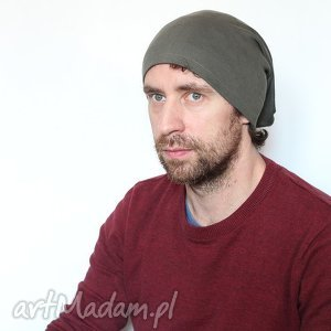czapka dresowa unisex zielona - dzianina, dresowa, unisex, damska, męska, bawełna