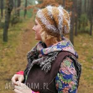 czapka damska miękka z włosem brązowa, włos, futro, etno, boho,
