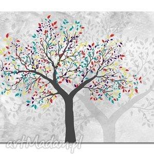 obraz drzewo kolorowe -d2- 120x70cm na płótnie, obraz, drzewo,