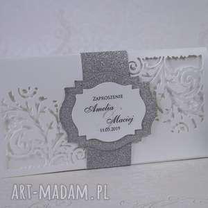 zaproszenia ślubne dl, zaproszenie, ślub, laserowe, brokatowe