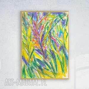 oprawiony rysunek z dżunglą, dżungla obrazek w ramce, kolorowy obraz a4, ładny
