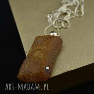Naszyjnik z surowym bursztynem srebro naszyjniki barbara