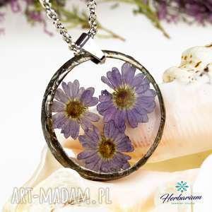 naszyjniki naszyjnik z suszonymi kwiatami, herbarium jewelry, kwiaty w żywicy z1296