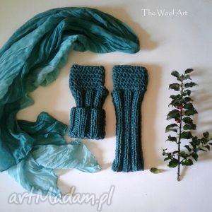 mitenki - morska zieleń - rękawiczki, mitenki, akcesoria, dodatki, ubór