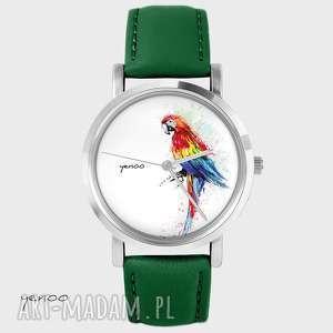 Prezent Zegarek - Czerwona papuga skórzany, zielony, zegarek, bransoletka, skórzany