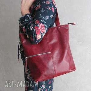 juti bags bordowa, skórzana torba z zamkami, shopper bag, bordowa torebka