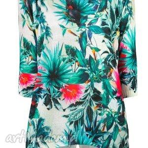 bluzki letni sweterek s/m,l/xl, nadruki, printy, liście, palmy, tunika, wyjątkowy