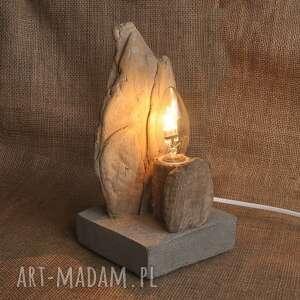 lampa z drewna i betonu /2/, retro, loft, unikat, lampa, drewno, beton
