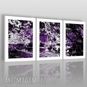 obraz na płótnie - abstrakcja fiolet 3x50x70 cm 00103, tryptyk