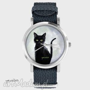 Prezent Zegarek, bransoletka - Czarny kot, szary grafitowy, zegarek, nato, pasek
