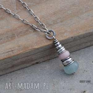 hand-made wisiorki opal i akwamaryn wisiorek