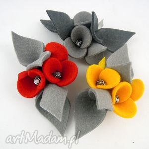 Zestaw 3 Broszek z Filcu, filc, broszka, broszki, zestaw, komplet, kwiatki