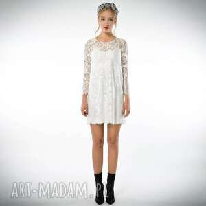 Świetlana mini - koronkowa sukienka ecru - sukienka, mini, koronka