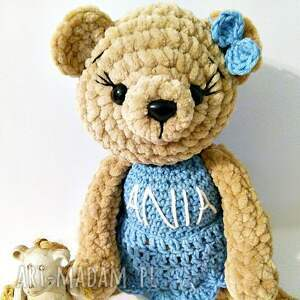 Pluszowa panna Misia w niebieskiej sukience - Ręcznie zrobione
