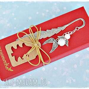 anioł róż i biel - zakładka świąteczna, zakładka, anioł, prezent, mikołaj