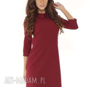 Elegancka sukienka z kołnierzykiem bordowa 010 sukienki ella