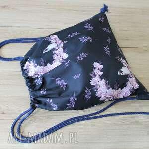 Worek plecak - ptaszek na magnolii torebki niezwykle worek