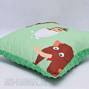 poduszka dinozaury z zielonym minky - poduszka, ozdobna, dinozaury, dino, minky, jajko