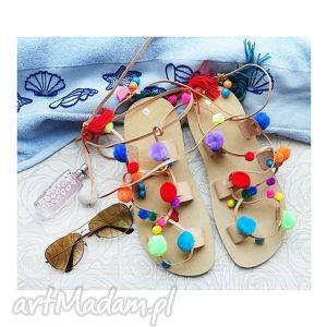 handmade buty rozm. 39 - kolorowe sandałki w stylu boho