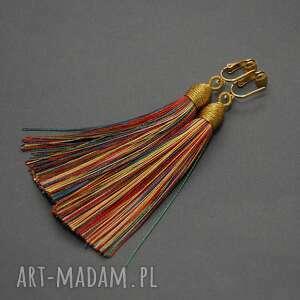 Kolczyki z chwostami sisu sznurek, wyjściowe, wiszące,