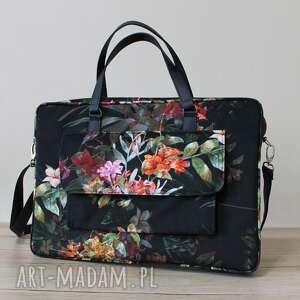 torba na laptop z kieszonką - tropikalne kwiaty i liście, elegancka, nowoczesna