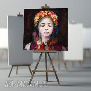 obraz na płótnie lady folk 100x100 cm - obraz, dekoracje, dodatki, design