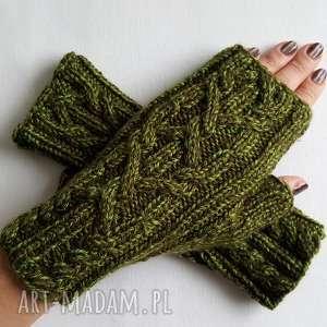 Melanż zielony rękawiczki izabelaart1 modne, awangardowe,