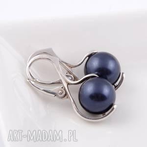 Granatowe kolczyki z pereł Swarovski - ,kolczyki,perły,swarovski,srebro,