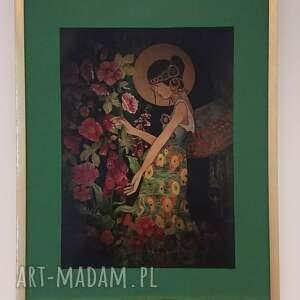 anioł w ogrodzie, anioł, secesja, akwarela, obraz
