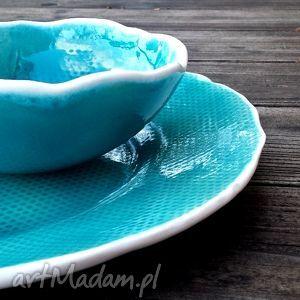 ręcznie zrobione ceramika bubbles zestaw naczyń ceramicznych turkus