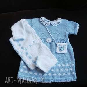 gaga art komplet błękitny, komplet, włóczka, bawełna, sukienka, rękodzieło, sweterek