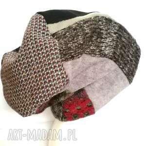 Czapka damska szyta patchworkowo ciepła zimowa czapki ruda klara