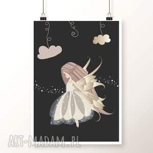 Plakat A4 od Well-Well / PIĘKNYCH SNÓW 3, wróżka, księżniczka, noc, chmury, dobranoc