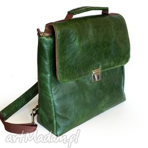 PLECAK / TORBA SKÓRA ZIELONA PULL UP, pullup, naturalna, plecak, torba, teczka