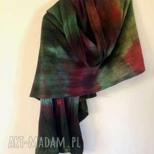 ręcznie wykonane szaliki wełniany szal w ciemnych zieleniach