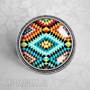 aztec broszka z azteckim wzorem - aztecki, etniczny, etno, boho, stylowa broszka