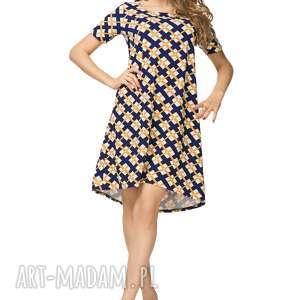 sukienka rozkloszowana t188, wzór romby, sukienka, rozkloszowana, krótki, rękaw