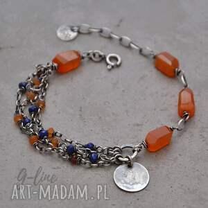hand-made srebrna bransoletka z karneolem, lapis lazuli i granatem 080
